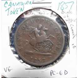1857 Bank of Upper Canada Penny Token. VG. Charlton PC-6D.