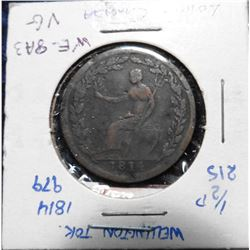 1814 Wellington Half Penny Token. VG. Charlton WE-8A3.