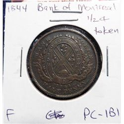 1844 Bank of Montreal Half Penny Token. F. Charlton PC-1B1.