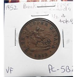 1852 Bank of Upper Canada Half Penny Token. VF. Charlton PC-5B2.