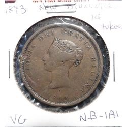 1843 New Brunswick Penny Token. VG. Charlton NB-1A1.