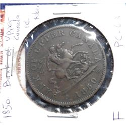 1850 Bank of Upper Canada Penny Token. F. Charlton PC-6A1.