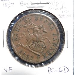 1857 Bank of Upper Canada Penny Token. VF. Charlton PC-6D.