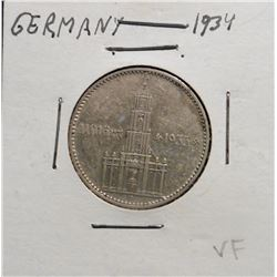 1934 Germany Silver Two Marks. VF.