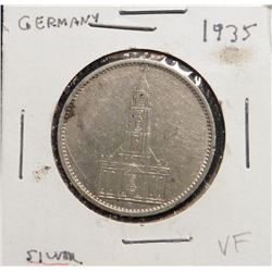 1935 Germany Silver Five Marks. VF.