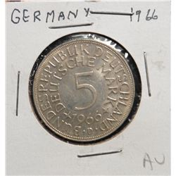 1966 Germany Silver Five Marks. AU.