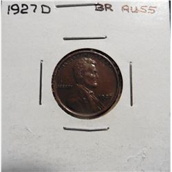 1927 D Lincoln Cent. Brown AU 55.