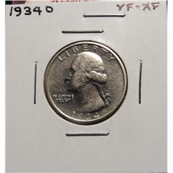 1934 D Washington Quarter. VF-EF.
