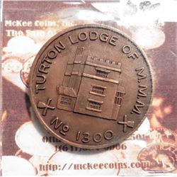 """Turton Lodge of M.M.M./No. 1300"", Bromley Cross, England, East Lancashire. 32 mm. Near Unc."