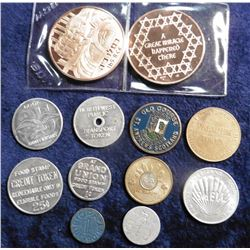 O.P.A. Blue Point token; LA transit token; Premium Token; Old Course St. Andrews Scotland Token; 10c
