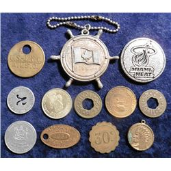 Niagara Falls Canada Keychain; Pair of U.S. Navy Pins; & (11) Various Tokens and Medals.