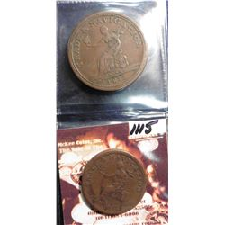 "1813 ""Trade & Navigation"" Token, ""Pure Copper Preferable to One Penny Token"" & ""Trade & Navigation"""