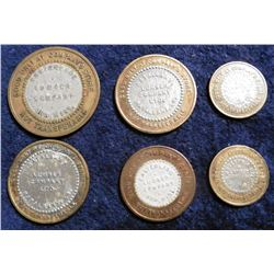 (6) Different Old Bi-metal Tokens from Natalbany, La. & Ora, Miss.