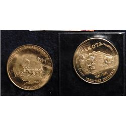 (2) Different 1861-1961 Dakota Territory Centennial Medal, BU.