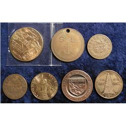 (3) Different Lodge Token Pennies; Statue of Liberty Souvenir Token; 1863-1963 Arizona Medal; Rugby,