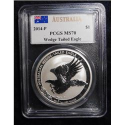 Australia 2014 P Dollar, .999 Fine. One Ounce Silver. Wedge tail Eagle. PCGS MS70.