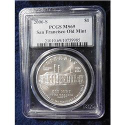 2006 S San Francisco Old Mint Commemorative Silver Dollar. PCGS MS-69