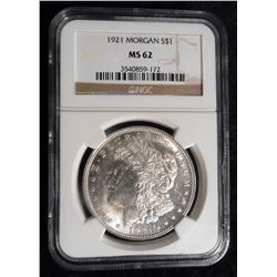 1921 P U.S. Morgan Silver Dollar. NGC slabbed MS 62.