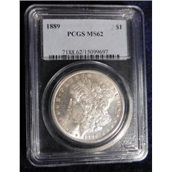 1889 P Morgan Silver Dollar. PCGS slabbed MS 62.
