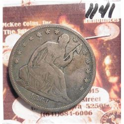 1861 U.S. Seated Liberty Half Dollar. F-12.