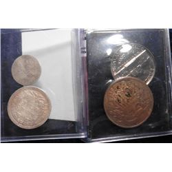 1855 Seated Dime, bent, VF; 1856 Three Cent Silver, bent; 1864 Two Cent Piece (lacquered); & 1957 P