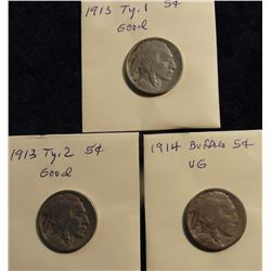 1913 P Type One & Two & 1914 P Buffalo Nickels. G-VG. (3 pcs.).