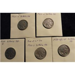1920 S, 23 S, 25 D, 25 S in readable dates; & 1938 D/S VF Buffalo Nickels.