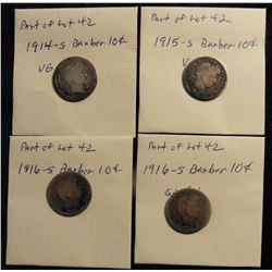 Barber Dimes: 1914 S VG-F, 1915 S VG, 1916 S G, & 1916 S Good. (4 pcs.)