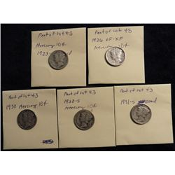 Mercury Dimes: 1923 S Good, 1926 P VF-EF, 1930 P F, 30 S G; 1931 S G. (5 pcs.)