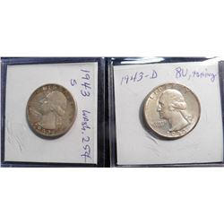 1943 D BU, toning & 1943 S AU Washington Quarters.