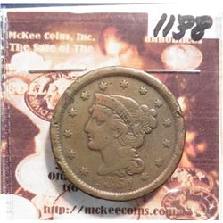 1851 Large Cent. Fine, edge dings.