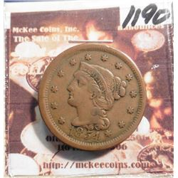 1854 Large Cent. VF-EF.