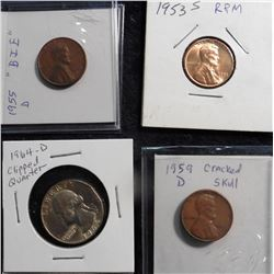 "Error Coins: 1964 D Quarter with an edge clip; 1953 S repunched MM BU, 1955 D ""BIE"", & 1959 D Cracke"