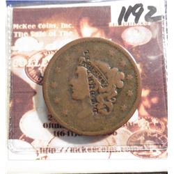 "Counterstamped 1837 Large Cent, Fine, ""D.T. Burrell""."