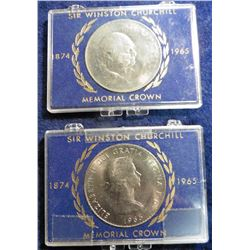 (2) 1965 Churchill Memorial Crowns, BU in Cases.