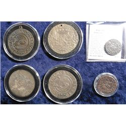 Copies: (3) Continental Currency, Pine Tree Six Pence, Janus Copper & a Cast Belgian Crown.