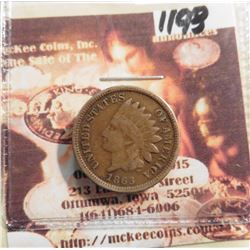 1863 Indian Head Cent. VG/VF.