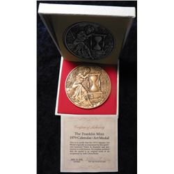 1979 Calendar Art Medal, solid Bronze, close to a half pound in weight. Some oxidation. In original