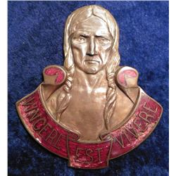 "World War II Military Bronze High Relief Insignia ""Vince Est Vivere"" Depicts an Indian with brades,"