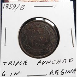 1859/8 Canada Large Cent. Triple punched G in Regina.