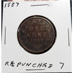 1887 Canada Large Cent. EF 40. Repunched '7'.