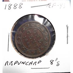 1888 Canada Large Cent. EF 40. Repunched '8's'.