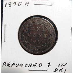 1890 H Canada Large Cent. VF 20. Repunched 'I' in Die 1.