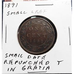 1891 Canada Large Cent. VG-8. Small leaf, small date. Repunched 'T' in 'Gratia'.