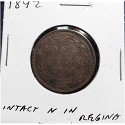 1892 Canada Large Cent. EF 40. Intact 'N' in 'Regina'.