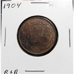1904 Canada Large Cent. Red-Brown MS 63+.