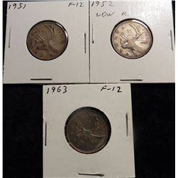 1951, 1952 (possible low relief), & 1963 Canada Quarters. VG-F.