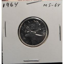 1964 Canada Silver Quarter. MS 64. Prooflike.