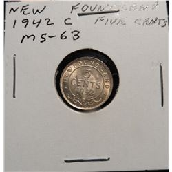 1942 C Newfoundland, Canada Five Cent Silver. MS 63. Catalog value $60.00.
