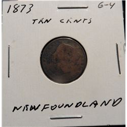 1873  Newfoundland, Canada Ten Cent. G-4. Catalog value $40.00.